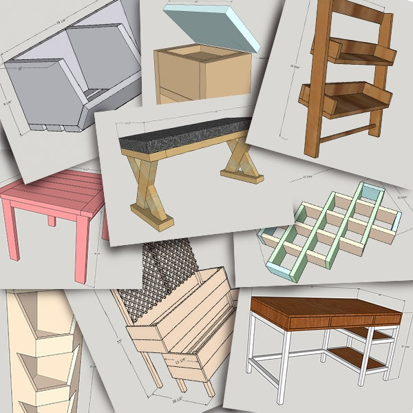 Collage of woodworking plans