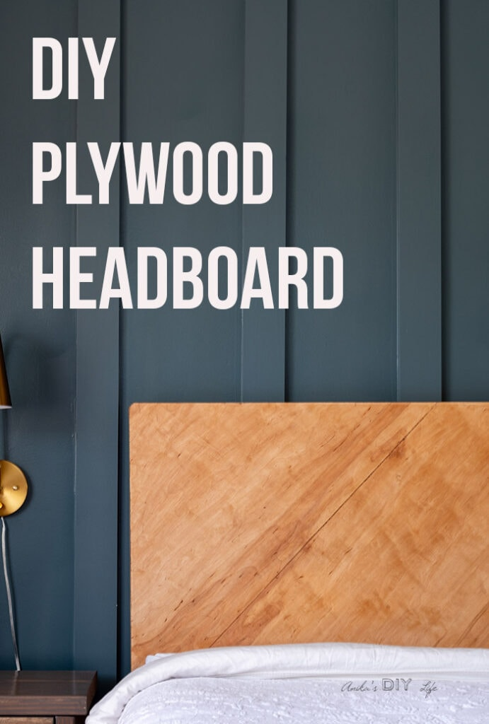 DIY plywood headboard with text overlay