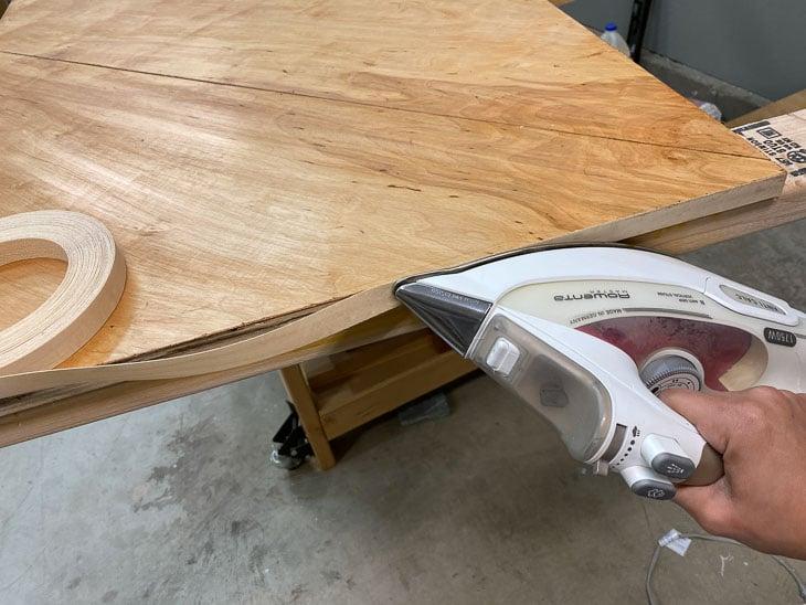 Applying edge banding to plywood
