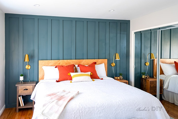 Bedroom with DIY board and batten wall