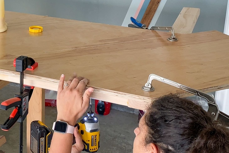 adding screws to the bottom of the DIY Headboard
