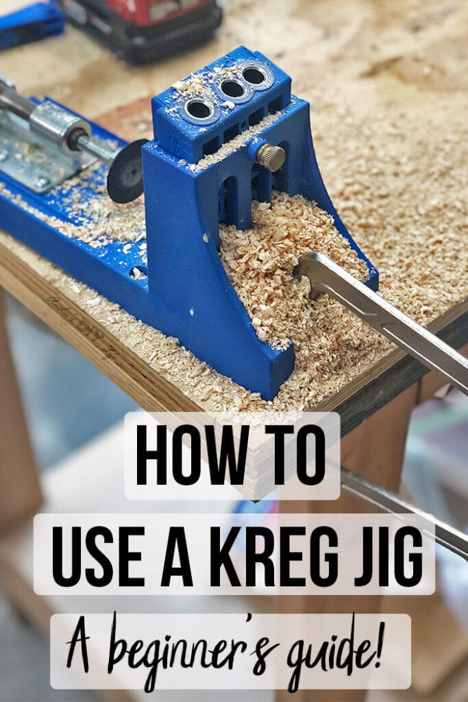 Sawdust covered Kreg Jig with text overlay