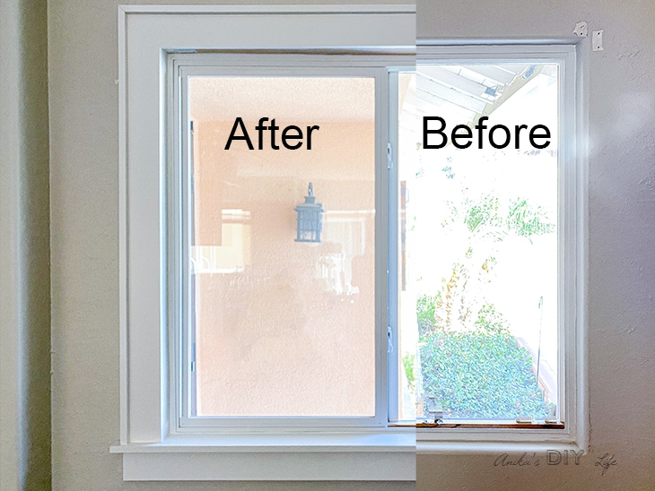 before and after comparison of window with and without DIY trim