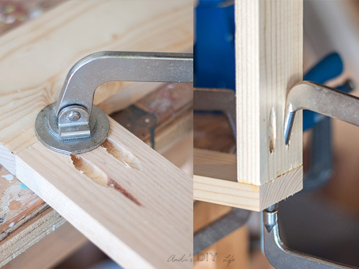 Collage of Kreg Clamps used in woodworking