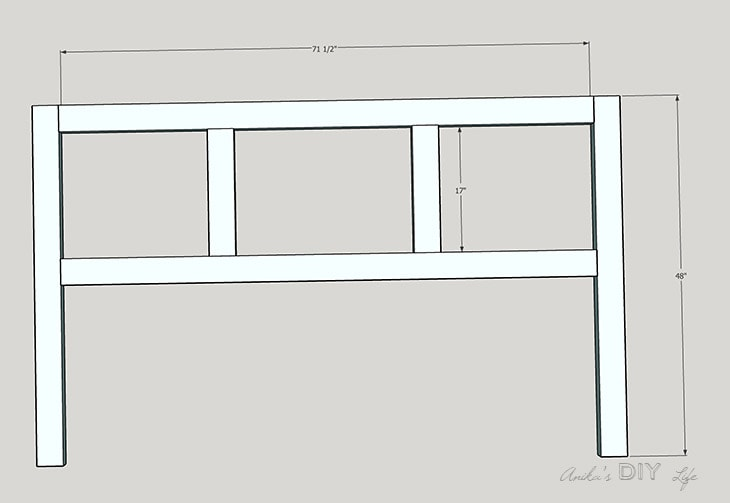 schematic plans for the DIY plywood headboard