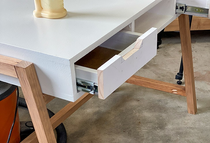 DIY desk with drawer face attached.