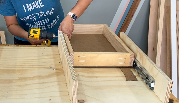 installing drawer into the DIY desk frame