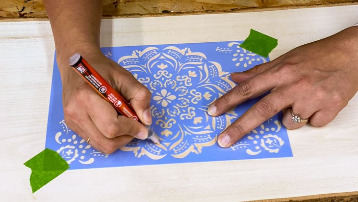 Stenciling mandala using a Scorch marker