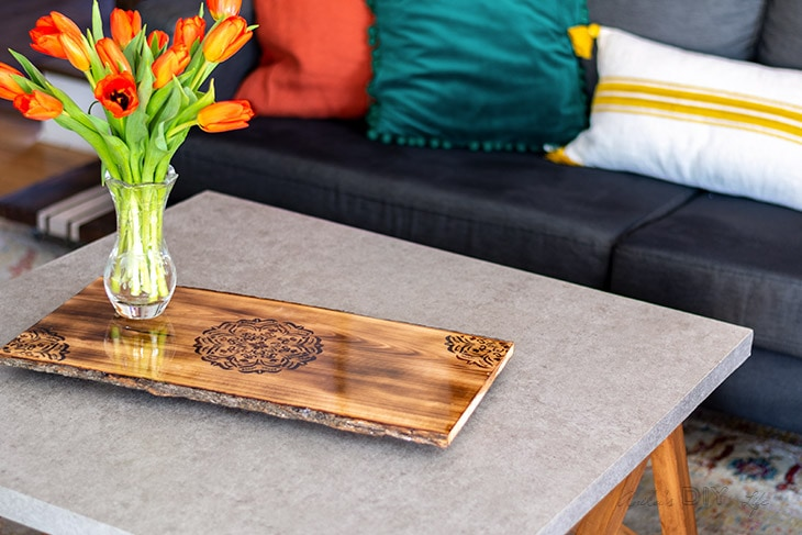 DIY wood burned mandala tray on coffee table