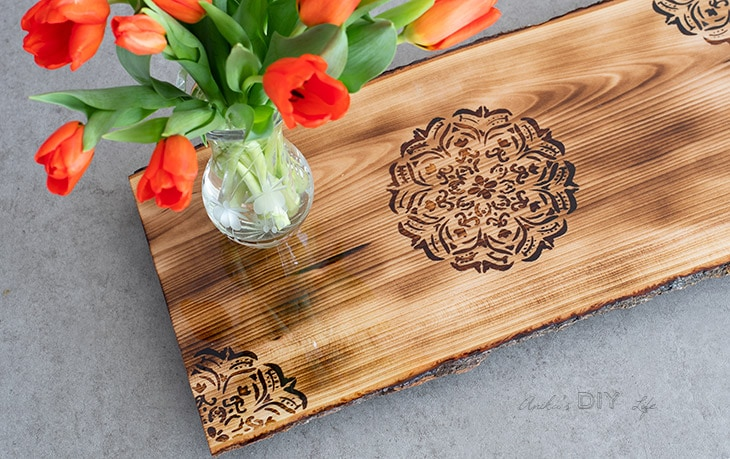 Close up details of the the DIY woodburned Mandala tray