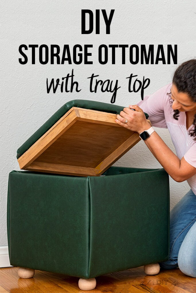 Woman opening DIY storage ottoman cover to show tray top underneath