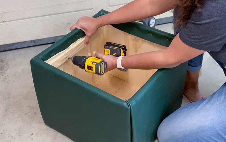 Adding supports for the DIY storage ottoman