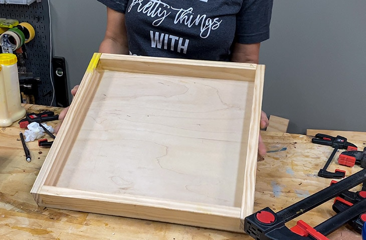 Building the tray top for the DIY upholstered ottoman cube