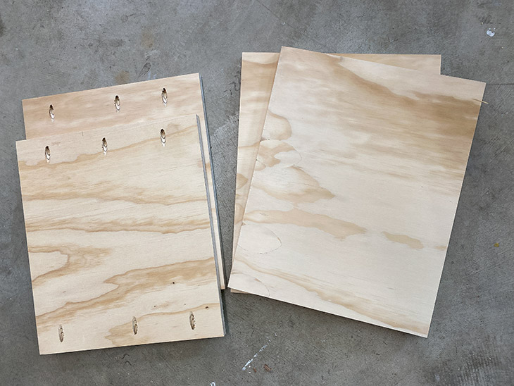Plywood pieces cut up and ready to build the DIY storage ottoman cube