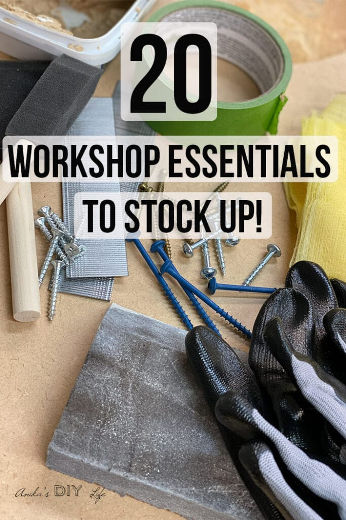 collection of workshop essential supplies on workbench with text layover