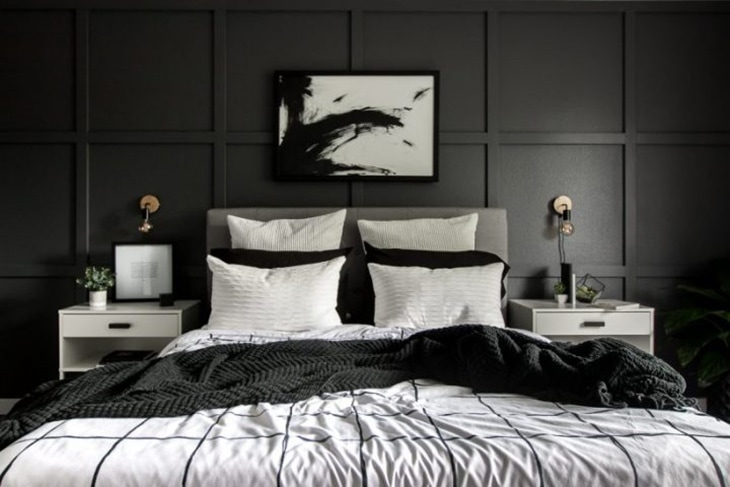 Modern dark board and batten accent wall in a bedroom