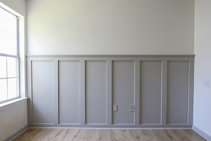 Simple gray board and batten across a wall