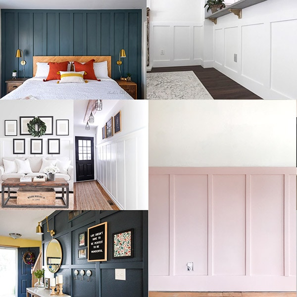 collage of DIY board and batten wall ideas for your home