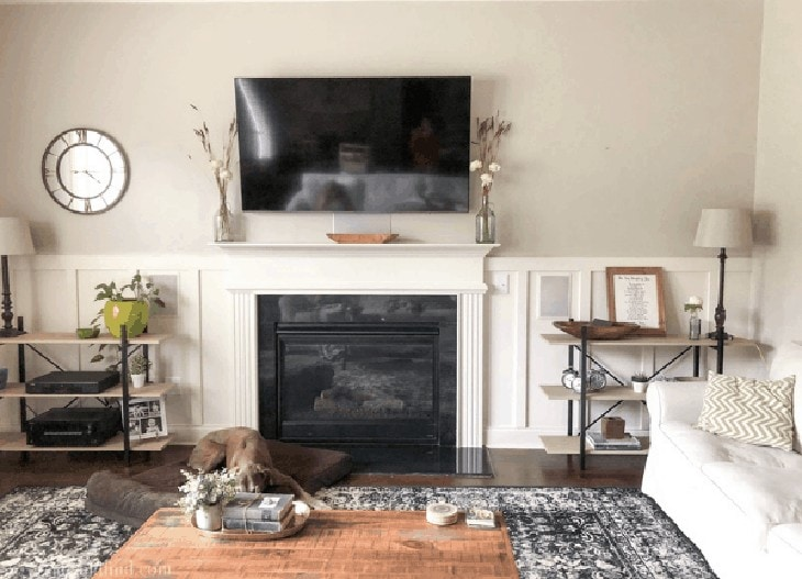 board and batten around fireplace
