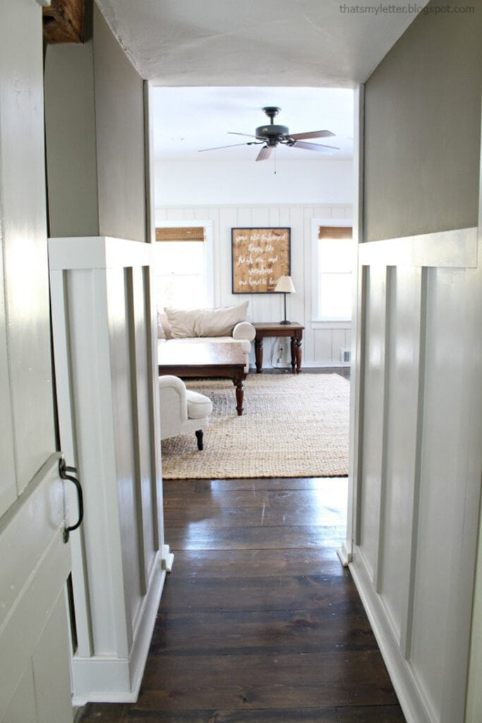 hallway lined with board and batten