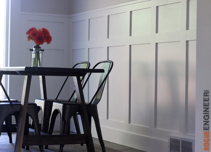 modern board and batten wall in a dining room