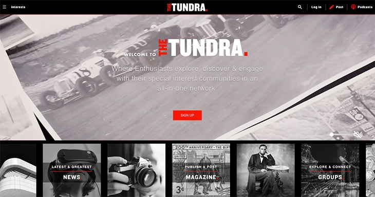 screenshot of the Thetundra.com homepage