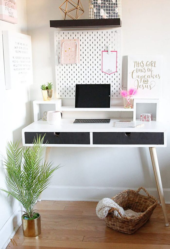 Modern desk with monitor stand two drawers and premade modern legs
