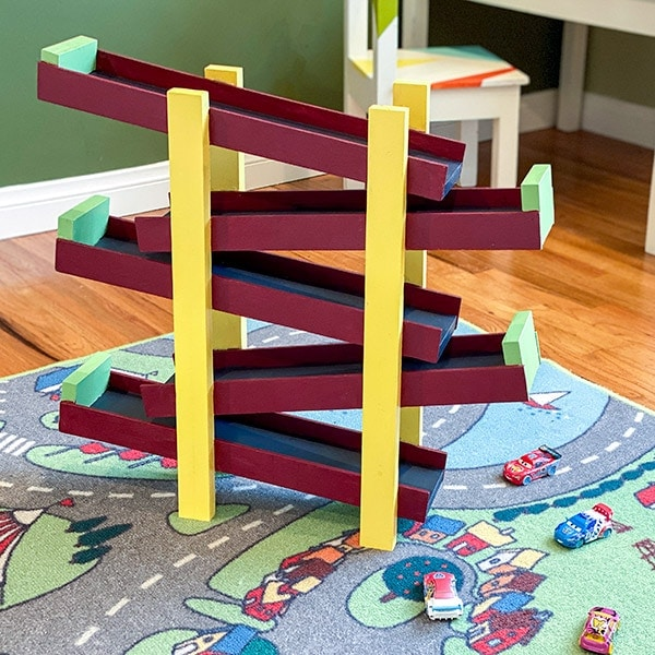 DIY Toy Car Ramp in kids room
