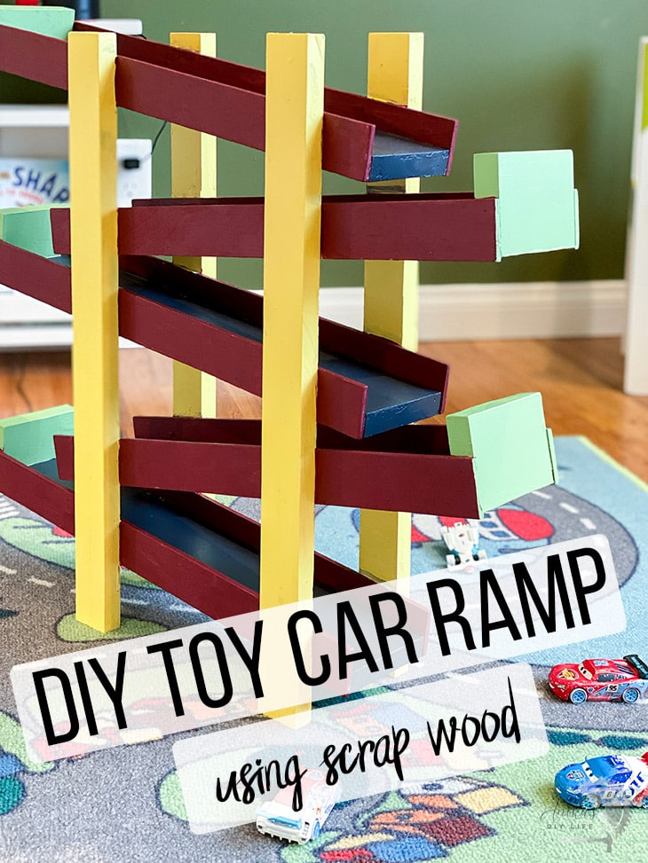 DIY toy car ramp in kids room with text overlay