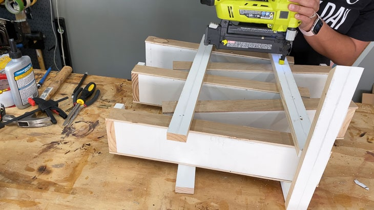 attaching legs for the DIY toy car ramp