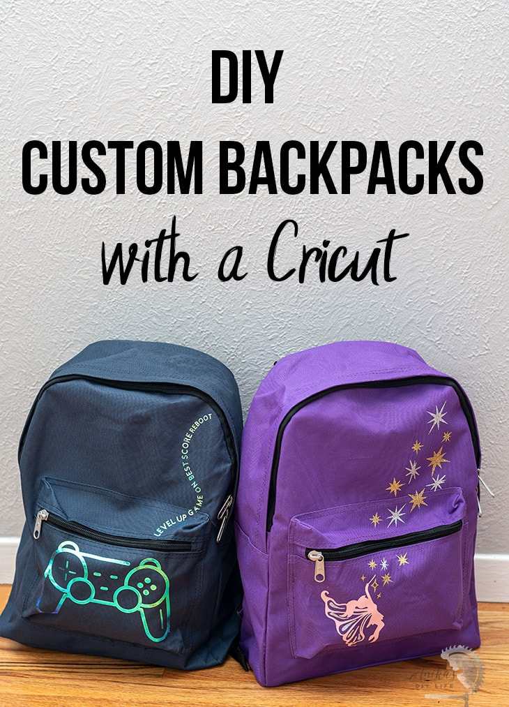 DIY custom backpacks in video game and fairy theme with text overlay