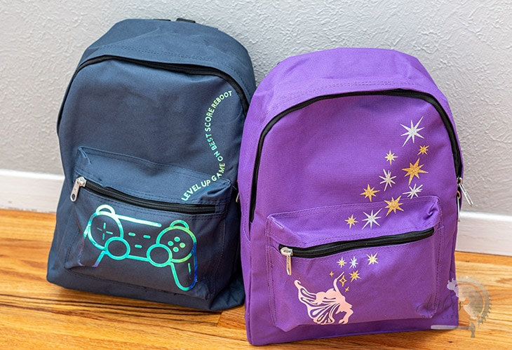 DIY custom backpacks in video game and fairy theme