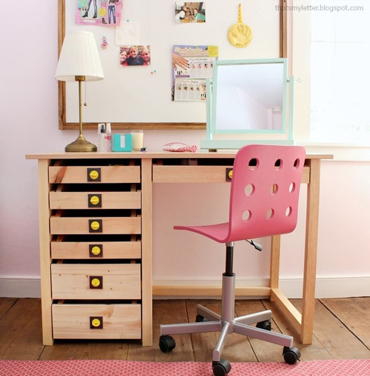 Vanity desk with 7 deep drawers and cute yellow drawer pulls
