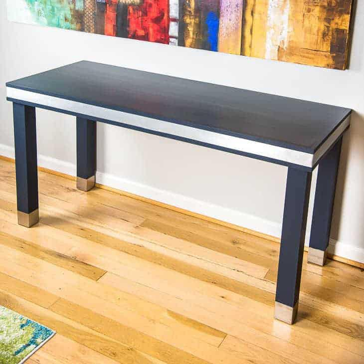 Simple painted DIY wood desk with metal accents