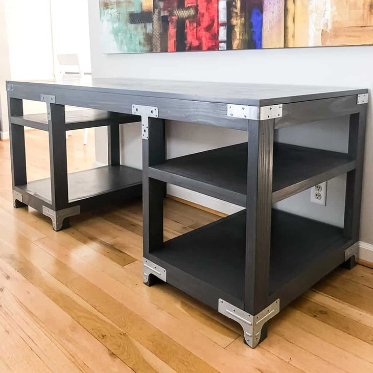 DIY industrial style desk with metal accents on the corners
