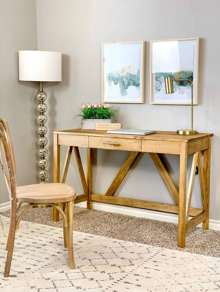 Wooden desk with inverted V detail and 1 drawer made for under $100
