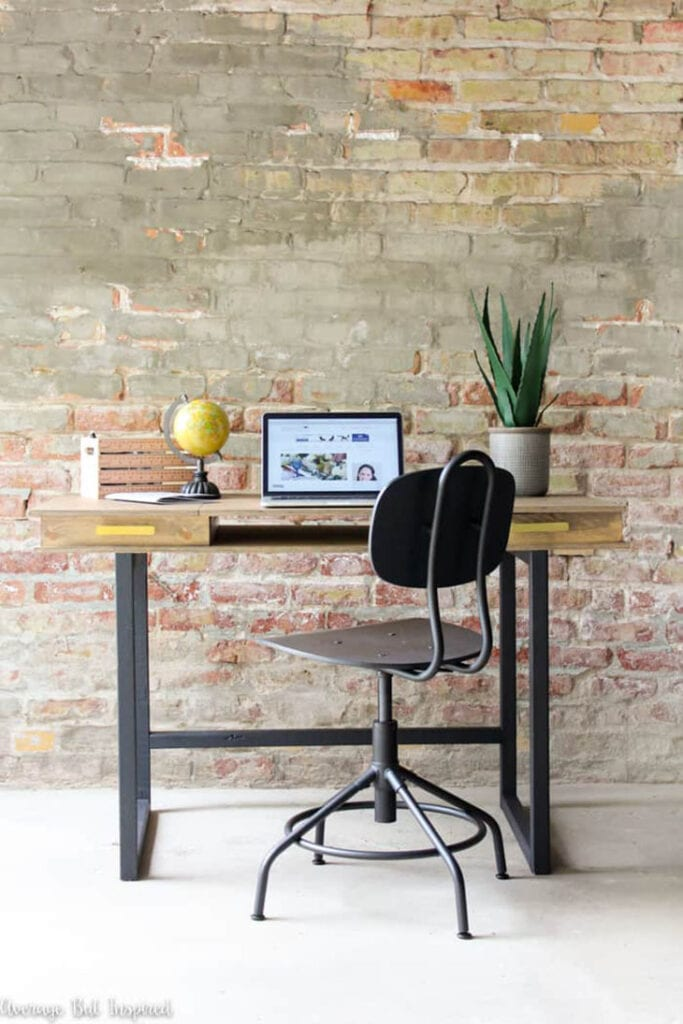 DIY modern desk made from plywood with 2 hidden storage spaces