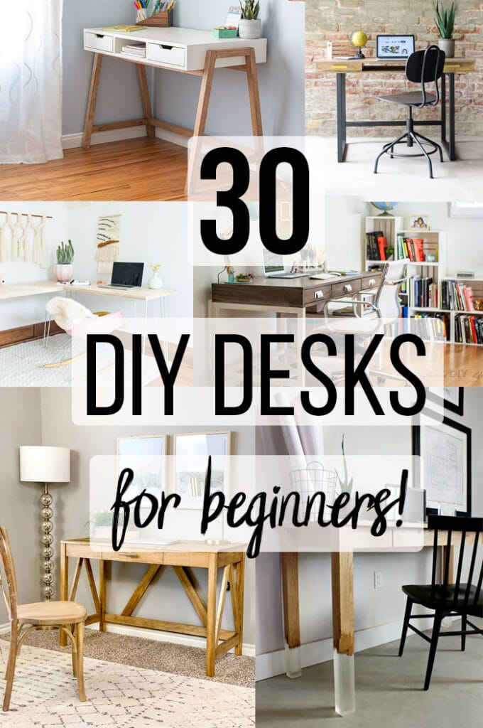 Collage of DIY desk ideas with text overlay