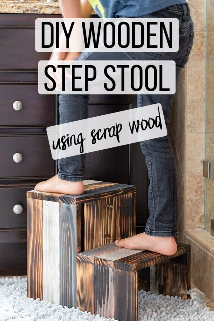 DIY wooden step stool with kid standing on it with text overlay