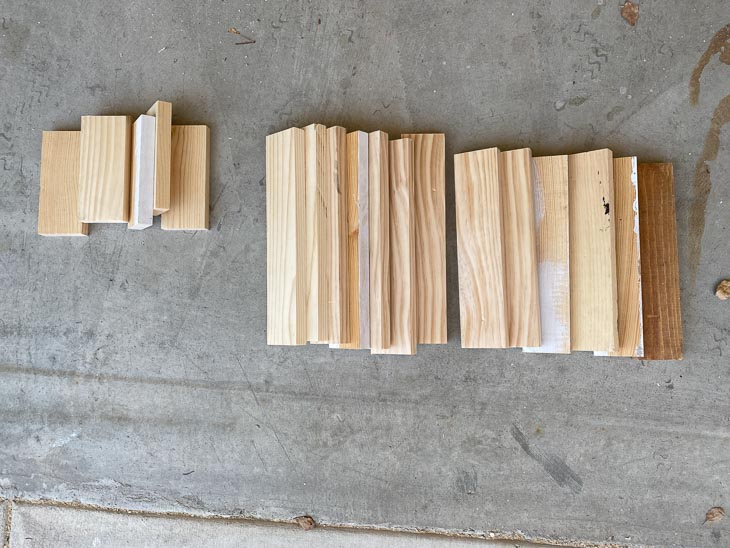 scrap wood pieces cut up for DIY step stool