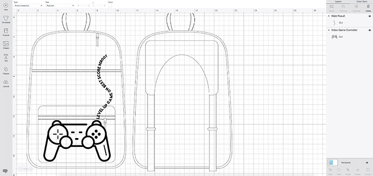 Cricut design space for video game backpack
