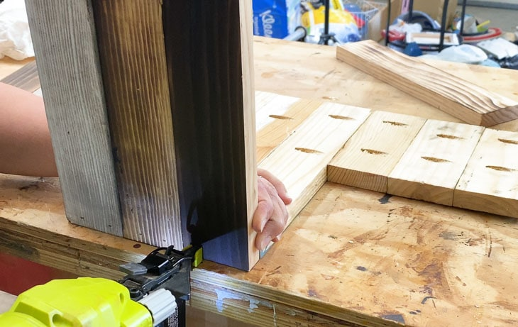 attaching treads for the DIY step stool