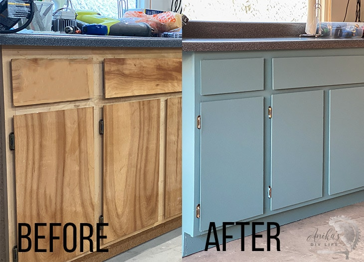 before and after comparison of painted garage cabinets