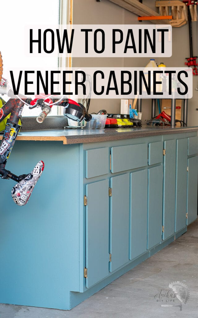 Painted veneer cabinets with text overlay
