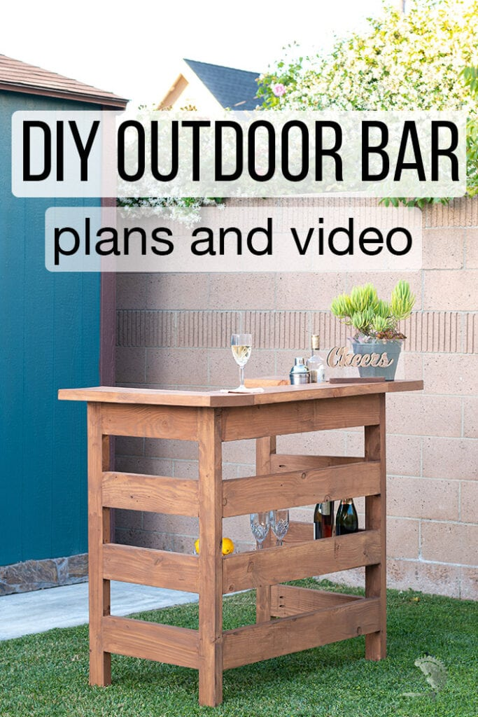DIY Wooden outdoor bar in backyard with text overlay
