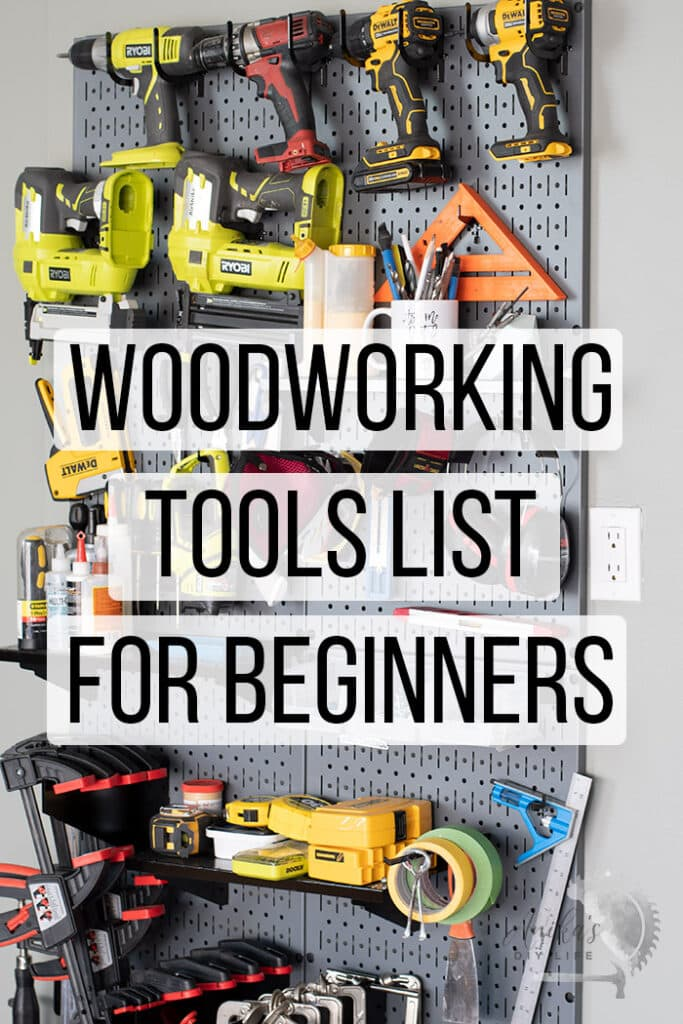 woodworking tools in shop wall with text overlay