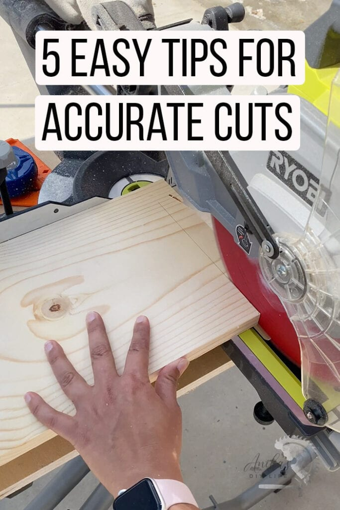 cutting a board on a miter saw with text overlay