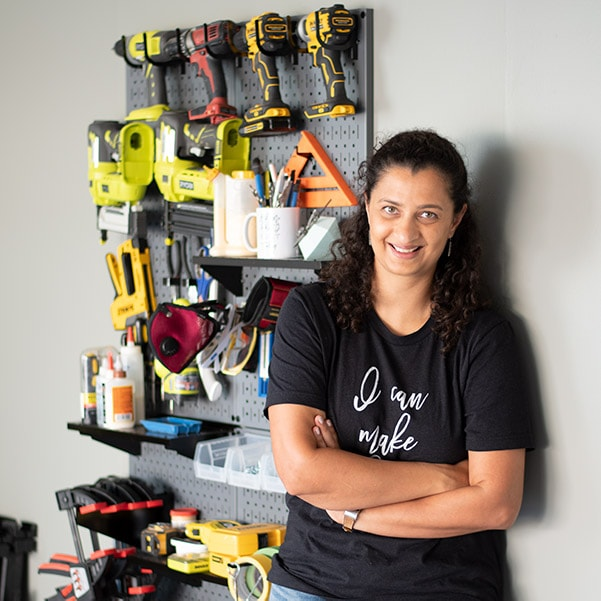 Woman in garage