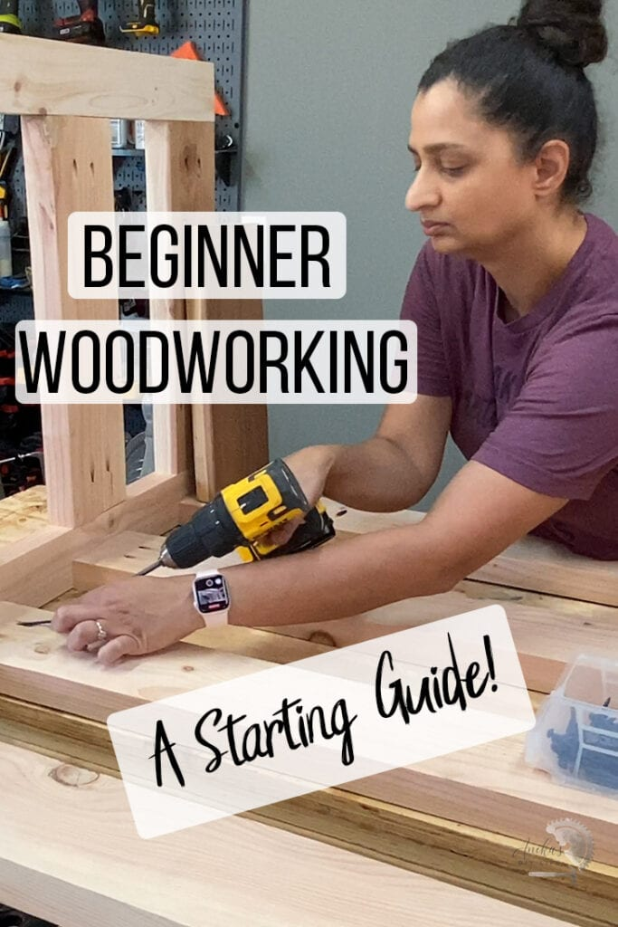 woman building a wood project with text overlay