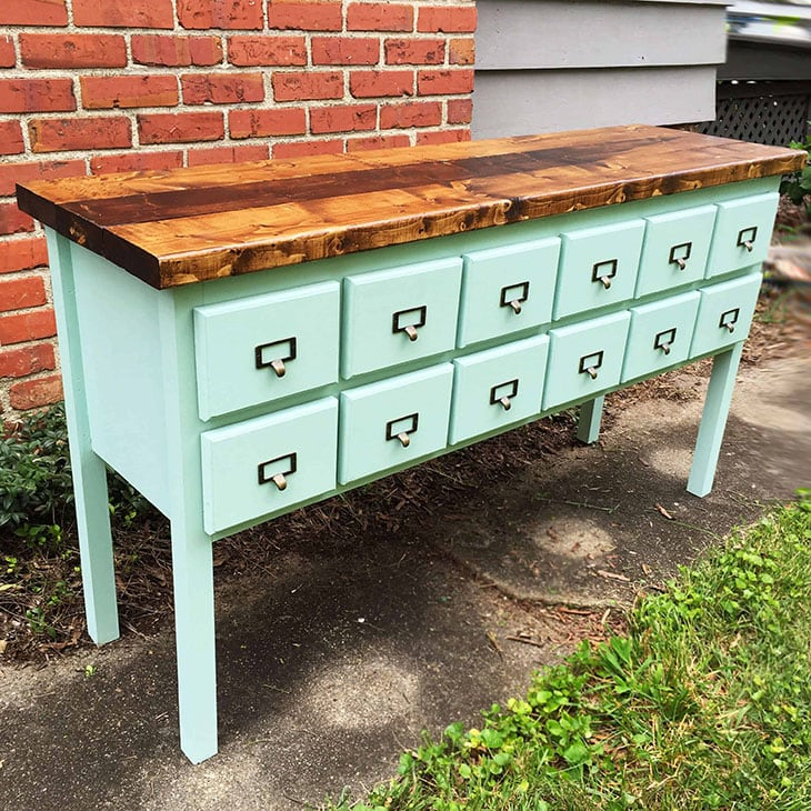 Green painted apothecary DIY console table